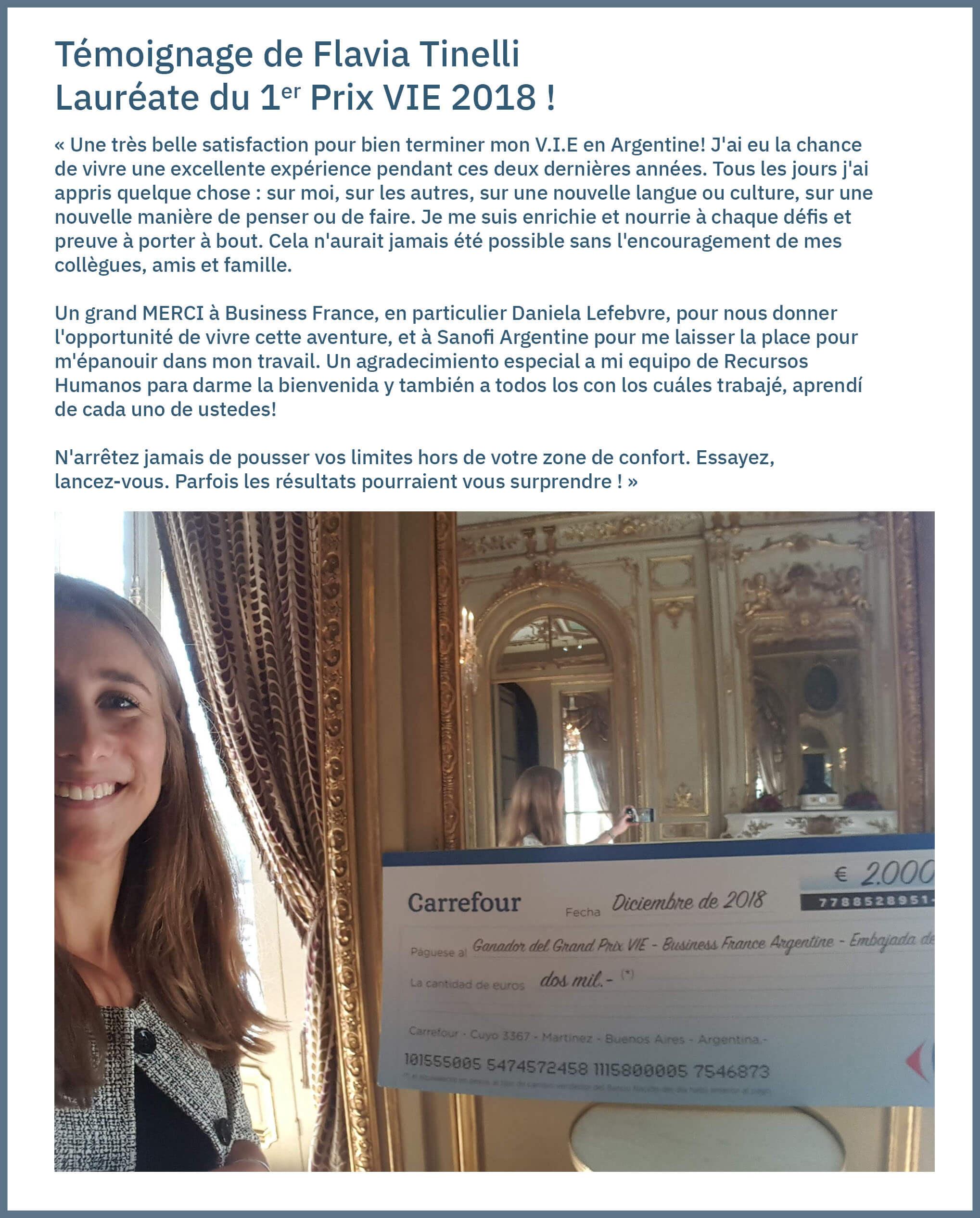 Témoignage de Flavia Tinelli Lauréate du Grand Prix V.I.E Argentine 2018